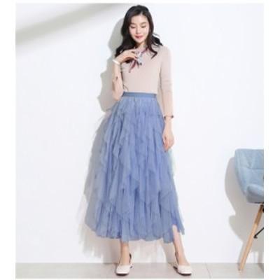 レディース ファッション ひざ丈 スカート SKIRT ドレス 大きいサイズ カジュアル 無地 シンプル