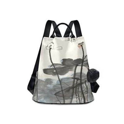 Chinese Lotus Flower Painting Shoulder Backpack Bag Travel Daypack Student
