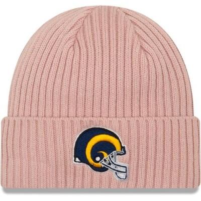 レディース スポーツリーグ フットボール Los Angeles Rams New Era Women's Team Glisten Rouge Cuffed Knit Hat - Light Pink - OSFA