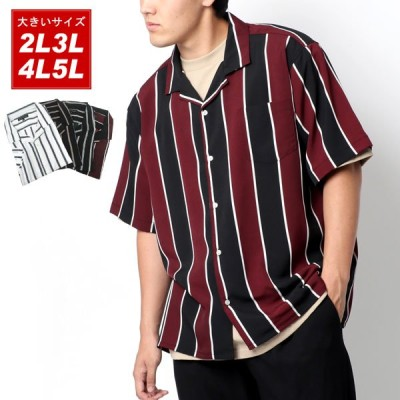 大きいサイズ メンズ オープンカラーシャツ 半袖 ストライプ オープンシャツ 開襟シャツ