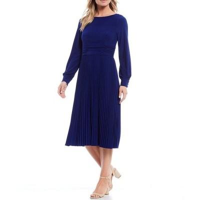 ジェシカハワード レディース ワンピース トップス Petite Size Long Sleeve Ruched Pleat Skirt Midi Dress