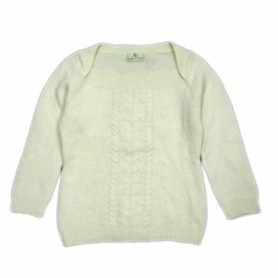 【中古】クミキョク 組曲 KUMIKYOKU ニット セーター カットソー スクエアネック ウール 長袖 2 白 アイボリー