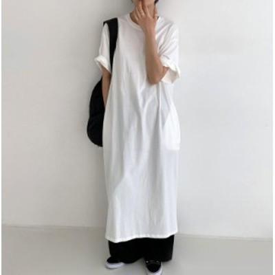 韓国 ファッション レディース Tシャツワンピース ロング バックスリット ルーズ 半袖 ゆったり 無地 大人可愛い シンプル カジュアル 春
