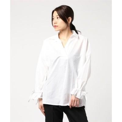 シャツ ブラウス 【La・comfy】綿ローン 袖口ギャザーオーバーシャツ