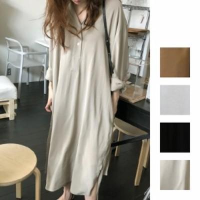 韓国 ファッション レディース ワンピース 夏 春 秋 カジュアル naloH839  テーラードカラー ベルトマーク ゆったり ラフ シンプル コー