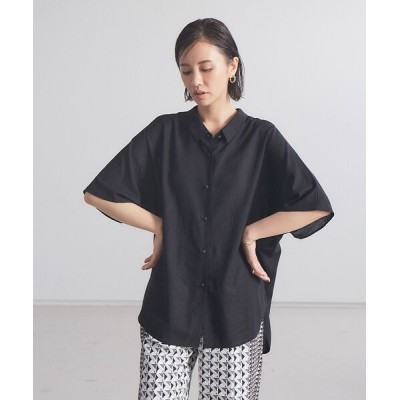 qualite/カリテ レーヨンリネンシアーシャツ【予約】 ブラック F