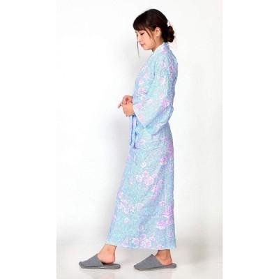 ローケツ染調 ガーゼ 寝巻き ブルー Mサイズ レディース 日本製 綿100%