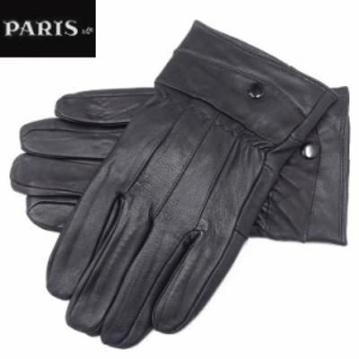 ◆手袋◆PARIS16e 羊革/シープスキン 黒 メンズ グローブ メール便可 LAM-N07-BK