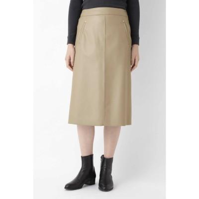 ◆シンラムキッドフェイクレザースカート グレージュ2