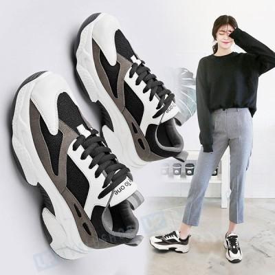 秋冬 おしゃれ レディース スニーカー 韓国風 流行れ 歩きやすい 厚底 カジュアル 運動靴 快適