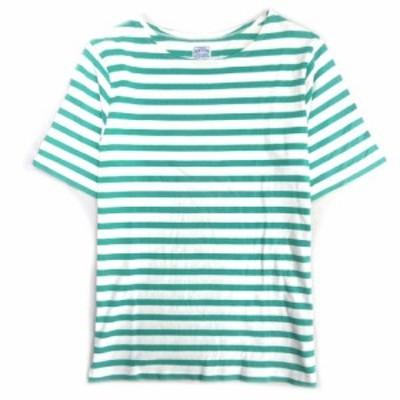 【中古】フリークスストア FREAKS STORE ボーダー Tシャツ カットソー 半袖 M 緑×白 112-1231 レディース★8