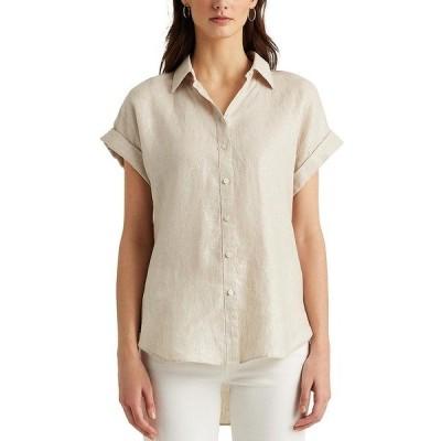 ラルフローレン レディース カットソー トップス Linen Dolman-Sleeve Hi-Low Linen-Blend Metallic Detail Shirt Silver