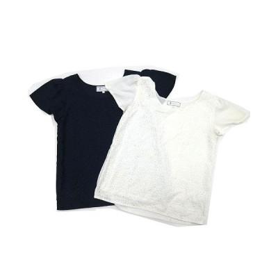 【中古】ロペピクニック ROPE Picnic まとめ売り 2点セット 色違い ブラウス シャツ トップス ジョーゼット刺繍 ネイビー ホワイト 38 美品【ベクトル 古着】