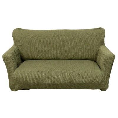 柔らかな触り心地 ソファーカバー / ソファーベッド用 3人掛け 肘なし グリーン / ストレッチ ソファカバー 洗える 『ブレスト』 九装