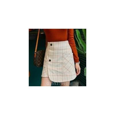 イギリススタイル不規則裾チェック柄ミニスカート