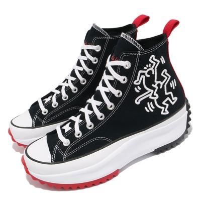 Converse 休閒鞋 Run Star Hike 穿搭 男女鞋 塗鴉藝術家 聯名 厚底 情侶款 帆布 黑 紅 171859C