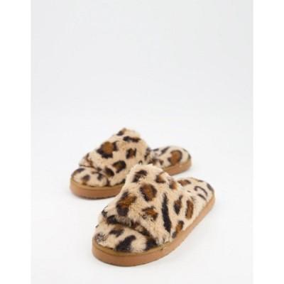 エイソス レディース サンダル シューズ ASOS DESIGN Zack chunky slider slippers in leopard