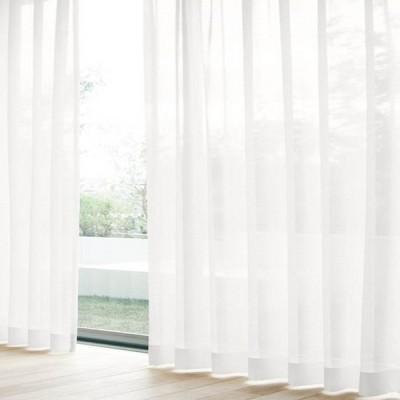 レースカーテン ビハダジョシボイル ホワイト(1枚) 巾100cm×丈103cm