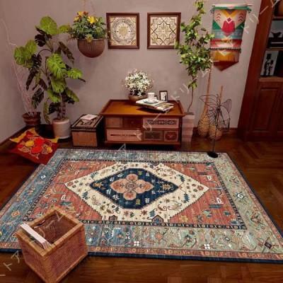 夏 ラグ ラグマット 洗える 花柄 フローラル キレイめ カジュアル ブルー グリーン ウォッシャブル カーペット 絨毯 リビングマット おしゃれ フラワー