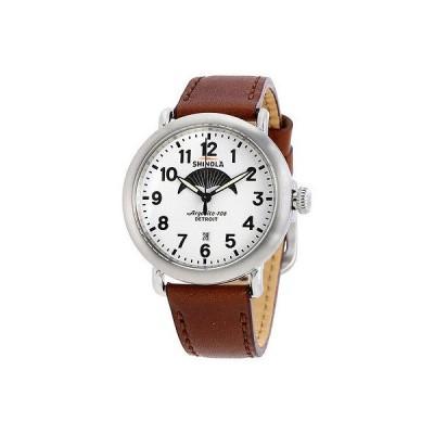 シャイノーラ 腕時計 Shinola Runwell Moon Phase ホワイト ダイヤル ダーク Cognac レザー メンズ 腕時計 20001112