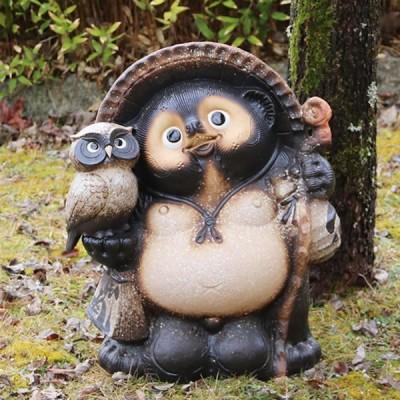 信楽焼 たぬき  17号ふくろう狸 陶器タヌキ たぬき  信楽 たぬき陶器 フクロウ 名入れ 文字入れ  ta-0126
