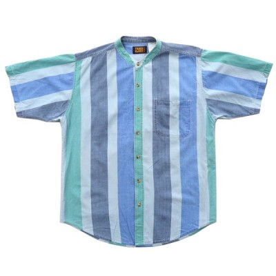 FADED GLORY ノーカラー バンドカラー 半袖シャツ ストライプ サイズ表記:L