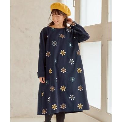 大きいサイズ スノーフラワー柄刺しゅうAラインワンピース ,スマイルランド, ワンピース, plus size dress