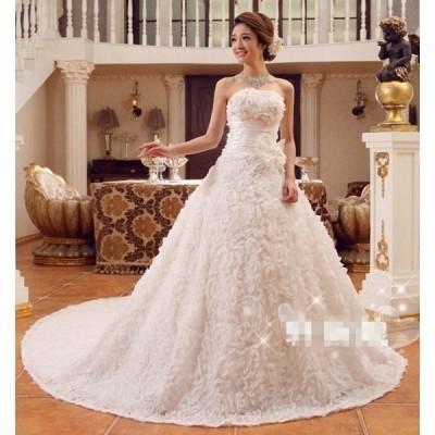 二点刺繍シンプルウェディングドレス豪華なウェディングドレス☆格安レーン結婚式ドレス
