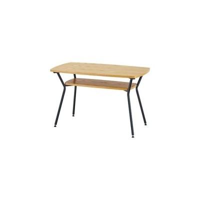 ds-2286209 ダイニングテーブル/リビングテーブル 【幅110cm×奥行60cm×高さ68cm】 棚付き 天然木×スチール 【組立品】 (ds2286209)