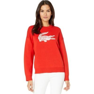 ラコステ Lacoste レディース ニット・セーター トップス Long Sleeve CN Jacquard Logo Cotton Sweater Corrida/Flour