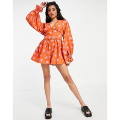 エイソス レディース ワンピース トップス ASOS DESIGN plunge floaty romper in orange floral print Orange floral