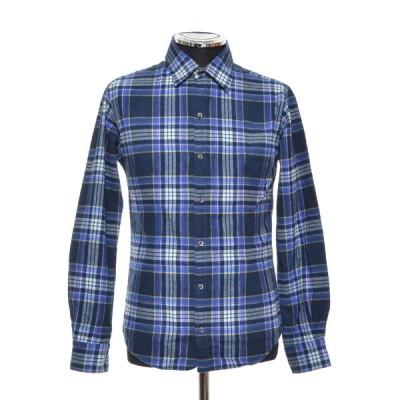 SHIPS シップス ネルシャツ ロングスリーブ 長袖 サイズS 綿100% メンズ ネイビー ブルー