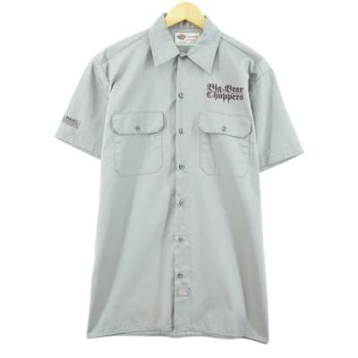 ディッキーズ バックプリント 半袖 ワークシャツ M /eaa045443
