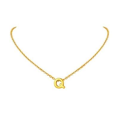 FindChic イニシャルネックレスQ レディース ペンダントトップ 18金 18k ゴールド 真鍮 小さめ 鏡面 シンプル  タイプB・ゴールド