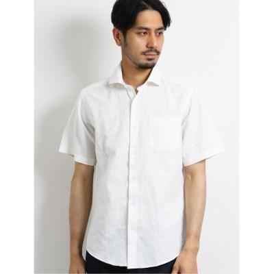 【タカキュー】 リネン混リーフジャガード ソリッドカッタウェイ半袖シャツ メンズ ホワイト LL(XL) TAKA-Q