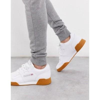 リーボック メンズ スニーカー シューズ Reebok workout plus sneakers in white with gum sole White