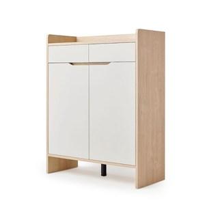 林氏木業北歐小戶型雙門對開雙抽鞋櫃 JF2N-A 原木色+荷花白
