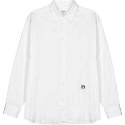 ロエベ Loewe メンズ シャツ トップス White logo-embroidered twill shirt White
