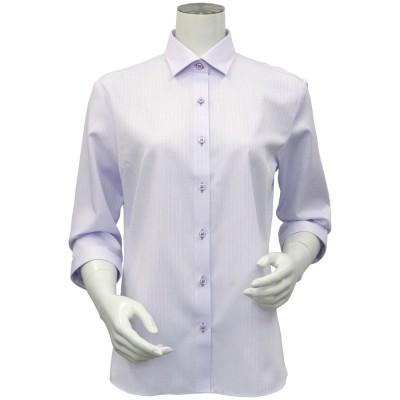 トーキョーシャツ TOKYO SHIRTS 形態安定ノーアイロン ワイド衿 七分袖ビジネスワイシャツ (ライトパープル)