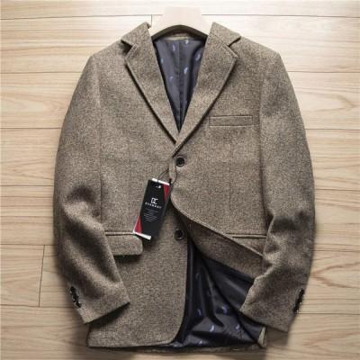 テーラード ジャケット ブレザー   厚手 高品質 紳士 新品◆ウール混 秋冬 メンズ チェック カジュアル ビジネス  コーヒー 2021年 新登場