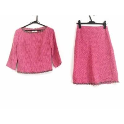 エムズグレイシー M'S GRACY スカートセットアップ サイズ9 M レディース - ピンク×ダークグリーン×マルチ【中古】20201107