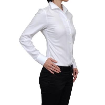 レディース シャツ ビジネス ワイシャツ ブラウス 長袖 イタリアンカラー ホワイト 白 無地 日本製 ナチュラルフィット トップス 大きいサイズ おしゃれ
