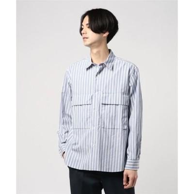 シャツ ブラウス ESTNATION / ストライプミリタリーシャツ
