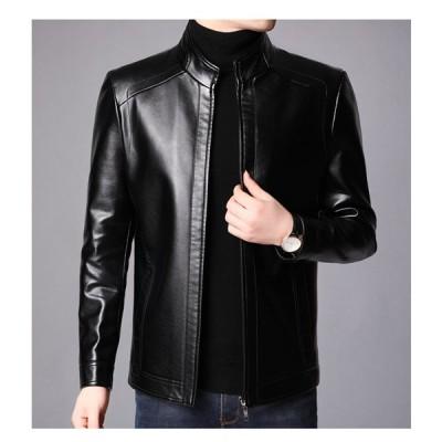 ライダースジャケット レザージャケット メンズ 革ジャン アウター ブルゾン コート シングル 大きいサイズ 秋 冬 PU