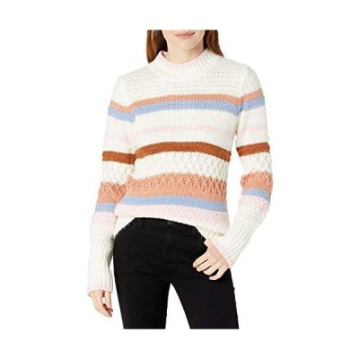 Cable Stitch Women's Mixed Pointelle Stripe Sweater Multi Cream X-Large並行輸入