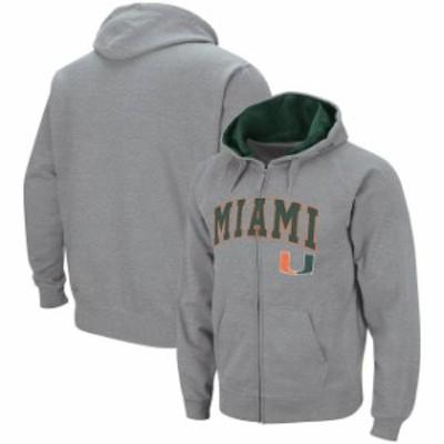 Colosseum コロセウム スポーツ用品  Colosseum Miami Hurricanes Heathered Gray Arch & Logo Tackle Twill Full-Zip Hoodie