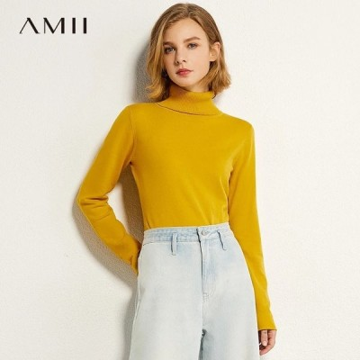 海外輸入アパレル AMIIミニマリズム秋のファッション女性セーターベーシックソリッドタートルネックスリムフィット女性プルオーバー因果女性セータートップ