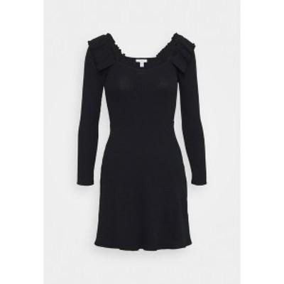 トップショップ レディース ワンピース トップス FRILL SKATER DRESS - Jumper dress - black black