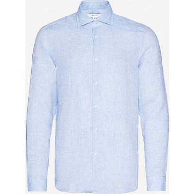リース REISS メンズ シャツ トップス Ruban slim-fit linen shirt SOFT BLUE