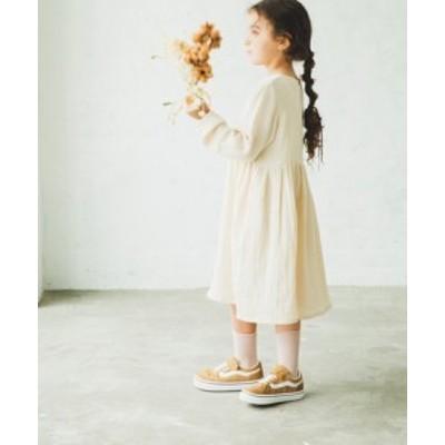 子供服  ママとおそろい ダブルガーゼ 長袖 リラックス ワンピース || 女の子 男の子 ベビー キッズ ドレス